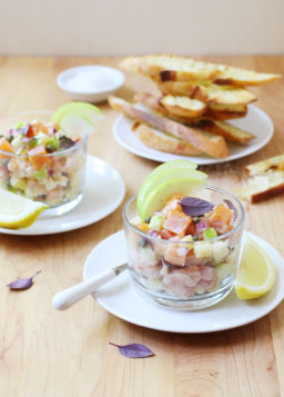 Fresh and Smoked Salmon Apple Tartare with Aged Cheddar Cheese