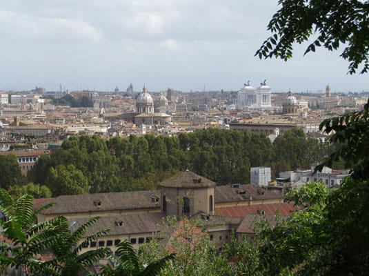 Rome, viewed from the Janiculum hill, in Trastevere