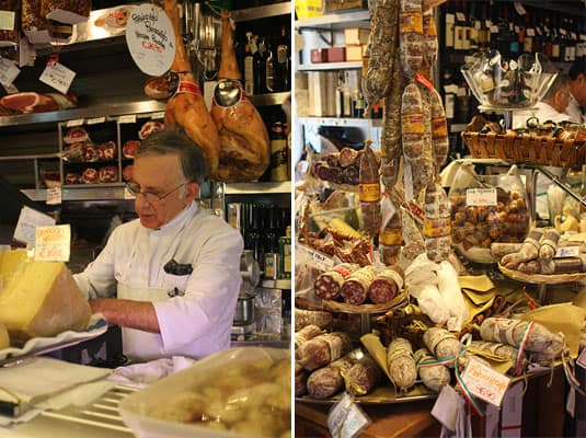 At Volpetti: one of the brother-owners, the incredible array of salami to choose (and taste) from