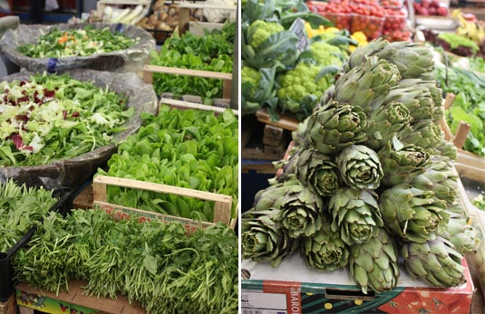 Fresh vegetables at Rome's Testaccio Market