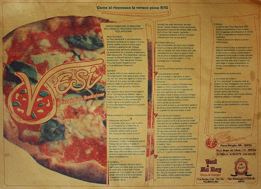 "The placemat providing the recipe to make an authentic ""Pizza Napoletana Margherita"""