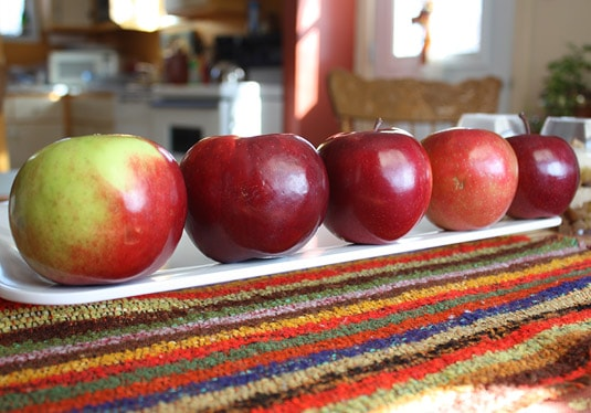 A colorful lineup of Quebec's apples.