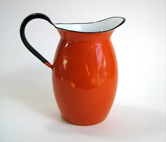 Midcentury ASAHI Japan Orange Enamelware Pitcher by AttysVintage