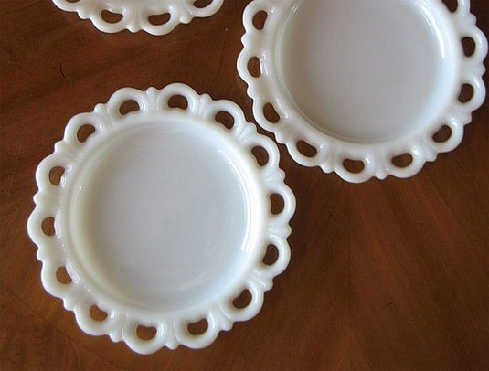 Vintage Set of Three Small Milk Glass Plates with Lace Edges