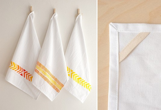 Organic Cotton Tea Towel - Chevron Print in Red-Orange Ombre (by Katherine J. Lee)