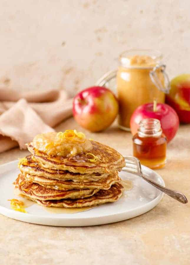Whole Wheat Apple Pancakes with Baked Citrus Applesauce // FoodNouveau.com