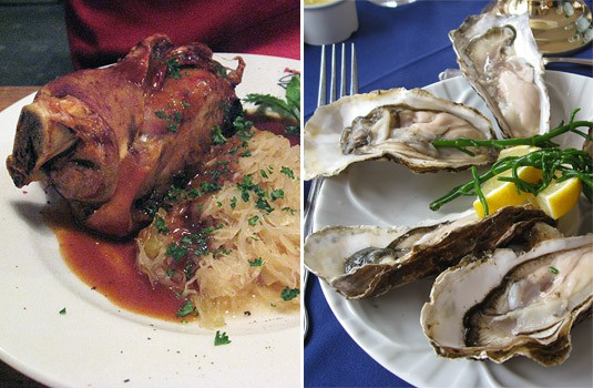 Left: pork knuckle in Germany. Right: gigantic oysters in Scotland. No, I didn't take a picture of the enormous shrimps.