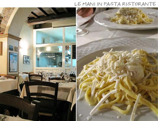 Le Mani in Pasta Ristorante: Fresh pasta, grilled meats