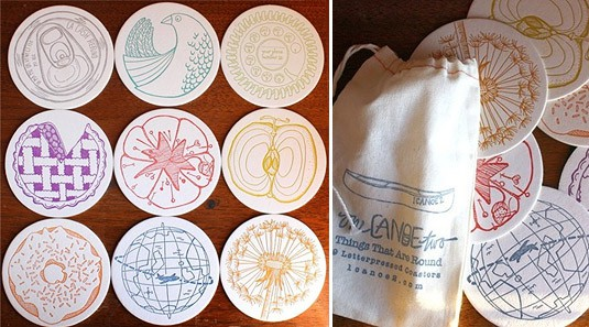 Set of 9 Letterpress Coasters (by 1 Canoe 2)