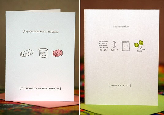 Illustrated Foodie Letterpress Cards (by Letterform)
