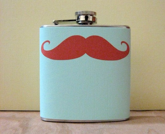 6oz Stainless Steel Flask with Mustache (by Whimsy and Ink)