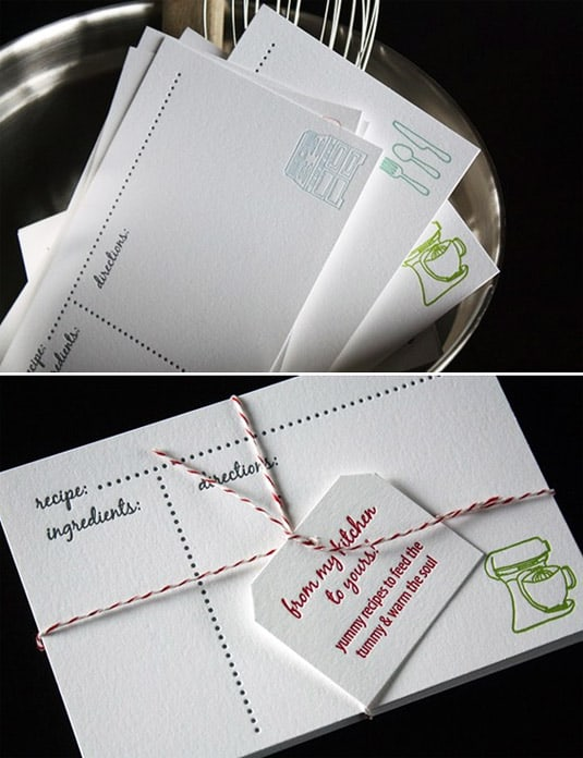 Set of 20 Letterpress Recipe Cards (by Penelope's Press)