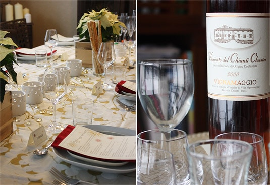 The Roman dinner party table and the delicious bottle of Vinsanto Del Chianti Classico by Vignamaggio we had for dessert
