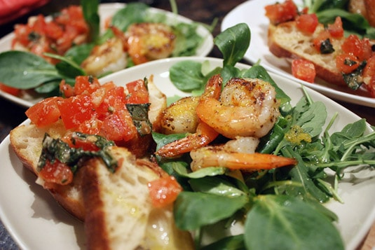 Classic Bruschetta and Grilled Lemon Shrimp on Arugula