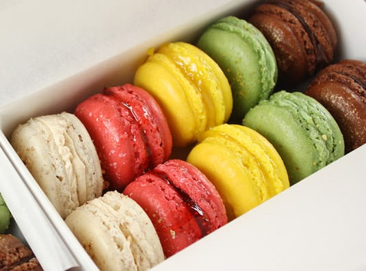 Macarons, 5 ways: chocolate, pistachio, lemon, raspberry & cranberry, maple & pecan