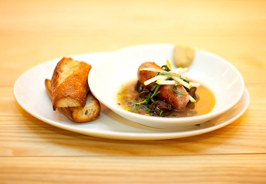 Ôc sên sauvage: wild burgundy snails, pork sausage, garlic, tarragon (photo credit: Katie Sokoler/Gothamist)