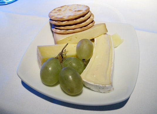 First Class Cheeses: Cantal, Brie and Morbier served with crackers.