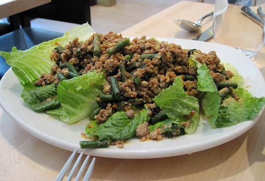 Spicy Duck Laab Salad with toasted rice, ground chili and romaine hearts (Kin Shop, New York City)