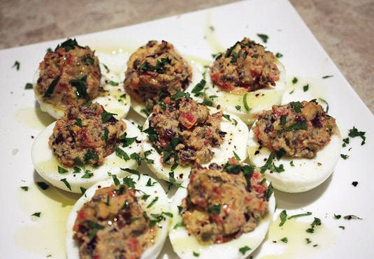 Hard-Boiled Eggs with Black Olives