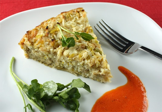 Leek and Rice Tart with Roasted Bell Pepper Sauce