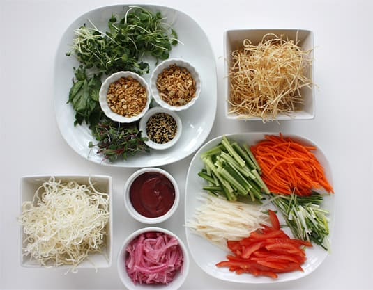 The quintessential mise en place to make Susur Lee's Singapore Slaw.