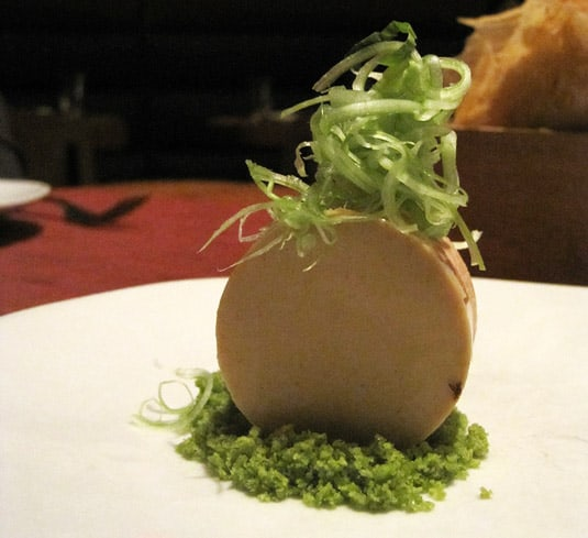 Foie gras, passionfruit, chinese celery (Wylie Dufresne's WD-50 Tasting Menu)