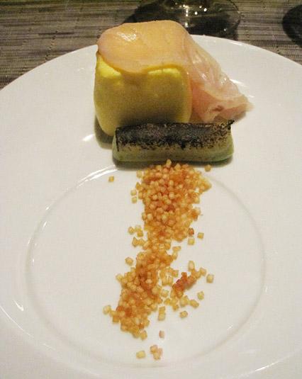 Scrambled egg ravioli, charred avocado, kindai kampachi (Wylie Dufresne's WD-50 Tasting Menu)