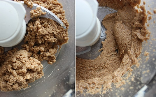 Left: Hazelnuts after 1 minute processing; Right: Hazelnuts after a little more than 2 minutes processing.