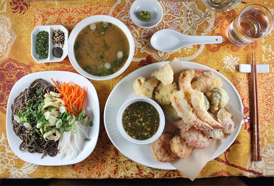 A Japanese Meal: Miso Soup, Hiyashi Soba Salad and Shrimp and Vegetable Tempura