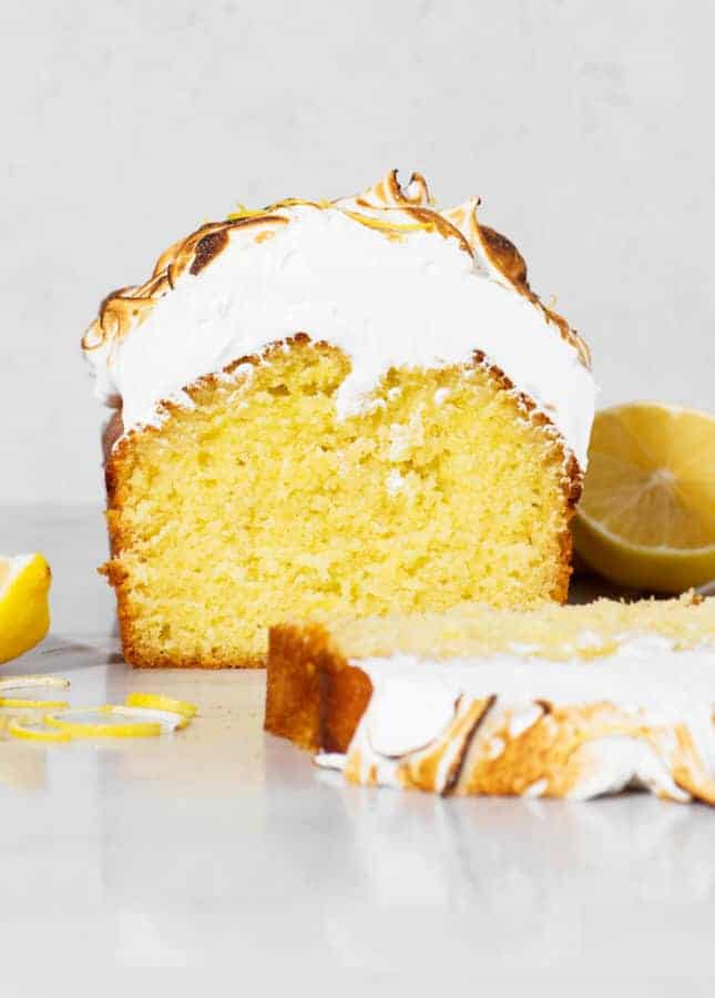 Lemon and Olive Oil Cake with Toasted Italian Meringue // FoodNouveau.com
