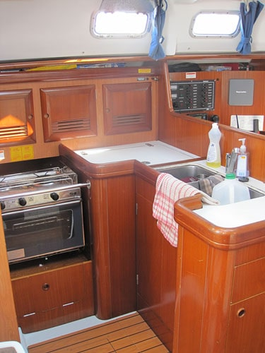 "Our kitchen for the week, in a 36' sailboat called ""Congo""."