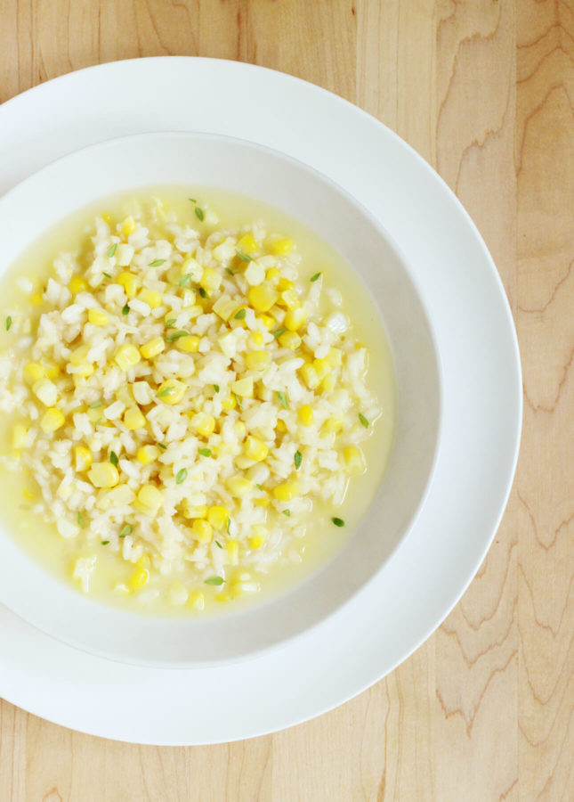 Sweet Corn Risotto in Corn Broth // FoodNouveau.com