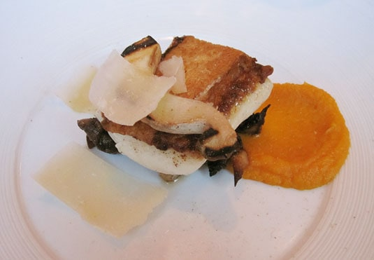 Bloesem, Amsterdam: Grilled fillet of halibut with creamed pumpkin, cèpes and parmesan cheese