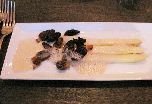 Bloesem, Amsterdam: White asparagus with fresh morrels and a bacon-infused foam.