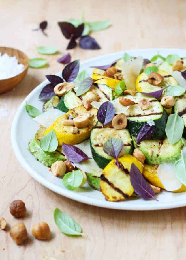 Hazelnut, Parmesan, and Grilled Zucchini Salad // FoodNouveau.com