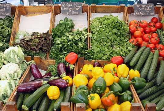 Fresh veggies at the Noodermarkt Organic Farmers' Market in Jordaan, Amsterdam