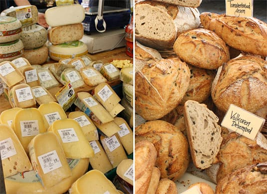 Tasty Dutch cheeses and delicious breads at the Noodermarkt Organic Farmers' Market in Jordaan, Amsterdam