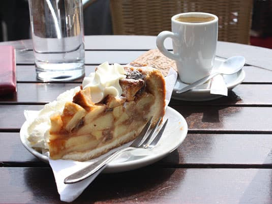 Another café, another kind of appeltaart: this time, no crumbly topping, just a generous serving of apples and a dollop of whipped cream (at 't Smalle Café, Jordaan).