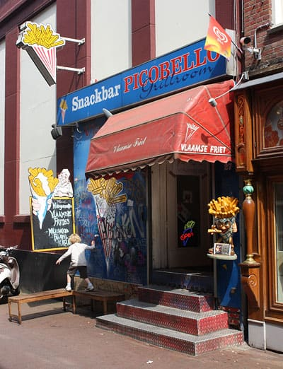 A small Vlaamse frites joint in the center of Amsterdam.