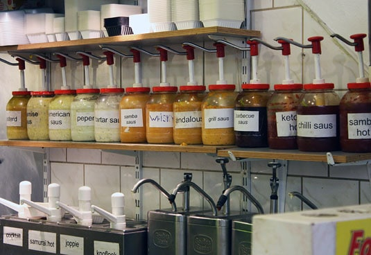 There's often a large choice of sauces more adventurous customers can choose from to go with the fries instead of regular mayo.