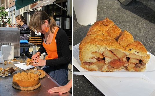 A Winkel server working as fast as possible to satisfy the crowd hungry for apple pie; a slice of the famous Winkel apple pie, Amsterdam.