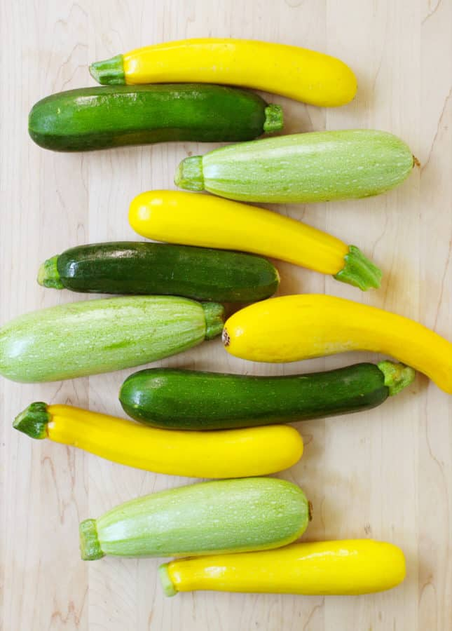 A big bunch of summer zucchini to make Hazelnut, Parmesan, and Grilled Zucchini Salad // FoodNouveau.com