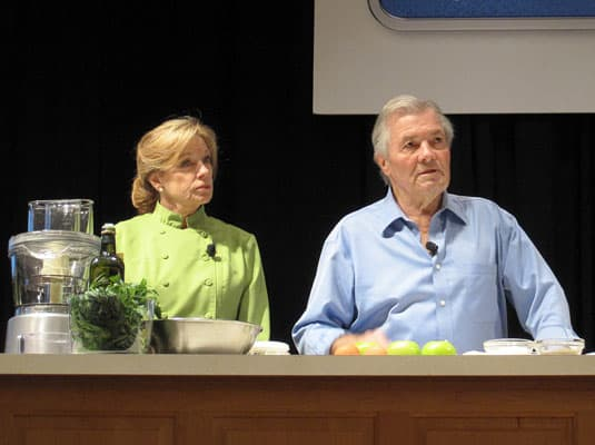 Jacques Pépin and Barbara Fenzl, culinary demonstration at the International Association of Culinary Professionals Annual Conference, Austin, Texas