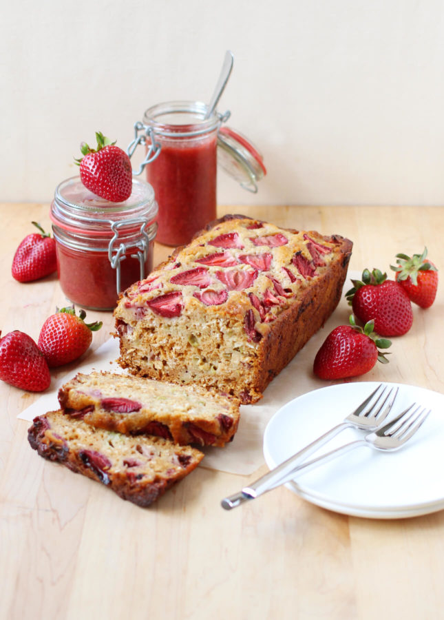 Honey, Rhubarb, and Strawberry Bread // FoodNouveau.com