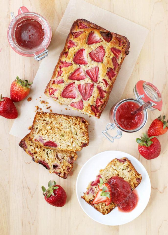 Honey, Rhubarb, and Strawberry Bread // FoodNouveau.com