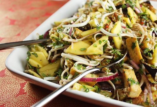 Yotam Ottolenghi's Soba Noodles with Eggplant and Mango (from Plenty, p. 112)