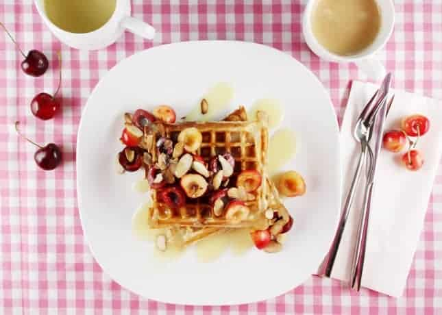 Yogurt and Oat Waffles with White Chocolate Sauce // FoodNouveau.com