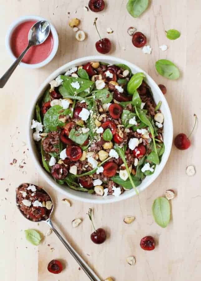Red Rice, Cherry, Baby Spinach, and Hazelnut Salad // FoodNouveau.com
