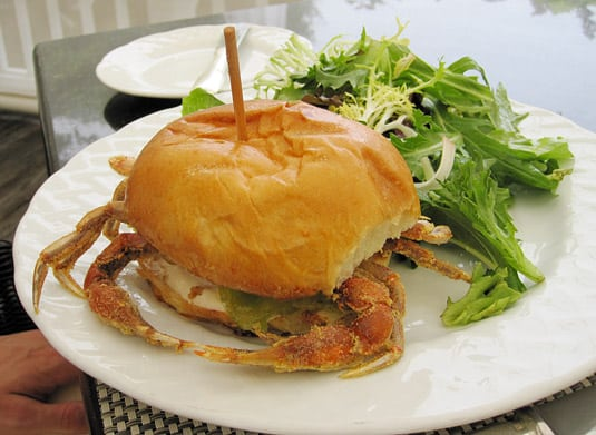 Soft crab sandwich at Topper's, Wauwinet Inn