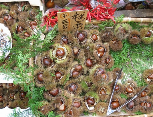Fresh chestnuts, sold with their spikey husks on.